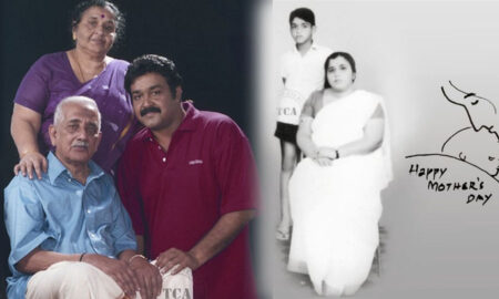 Mohanlal with mother and father