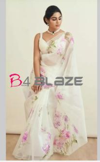 Samyukta menon in white Saree